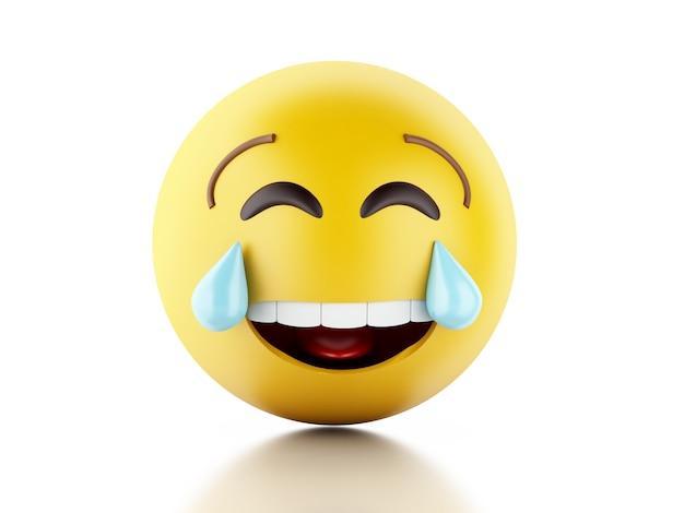 Ilustração 3d. ícones de emoji com expressões faciais.