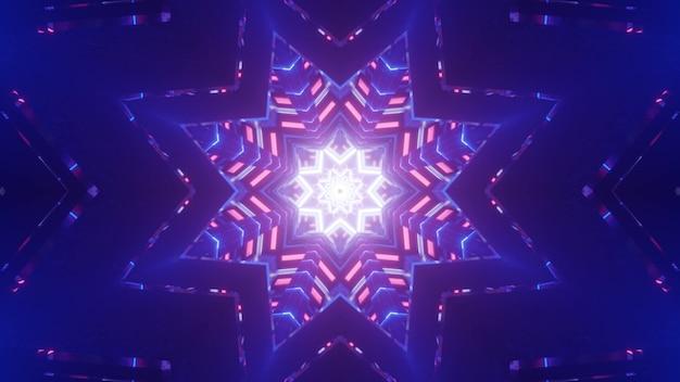 Ilustração 3d iluminação de néon colorida festiva em forma de estrelas brilhando no fundo azul escuro como fundo abstrato da festa