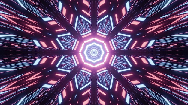 Ilustração 3d iluminante caleidoscópica de padrões geométricos polangangulares de luzes rosa e azuis brilhantes sobre fundo preto