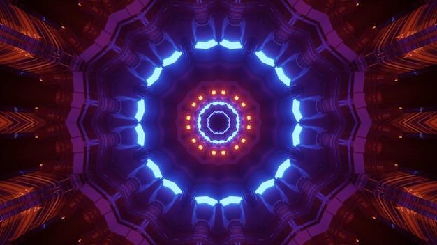 Ilustração 3d ilusão óptica visual abstrato com contraste brilhante padrão geométrico de néon do túnel espacial sci fi