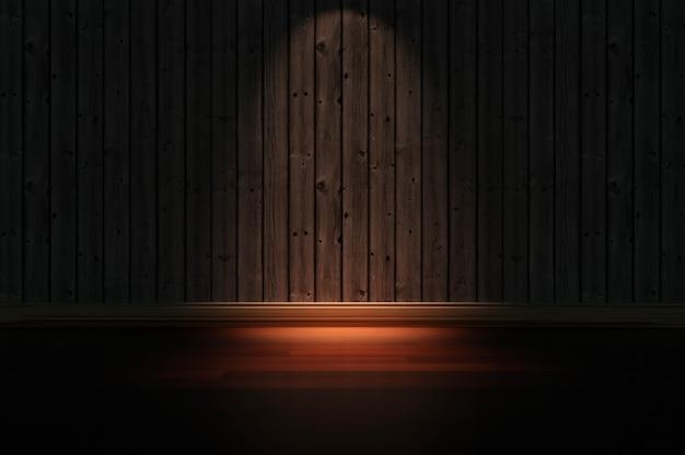 Ilustração 3d. ilustração 3d. interior industrial abstrato com parede e piso de madeira