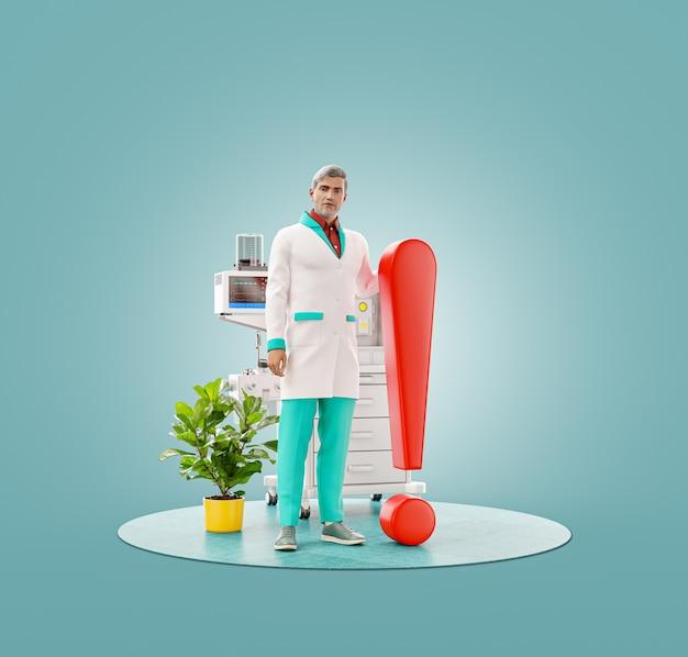 Ilustração 3d incomum de um médico em pé com ponto de exclamação.