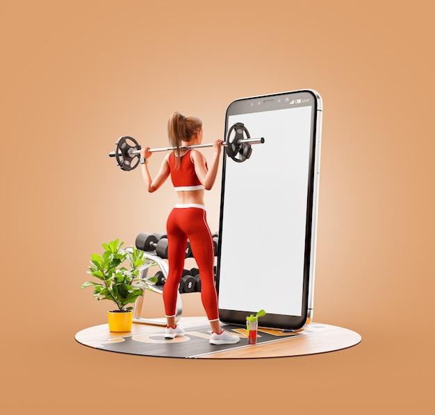 Ilustração 3d incomum de uma jovem mulher na academia fazendo agachamentos com barra na frente do smartphone e usando o telefone inteligente para exercícios.