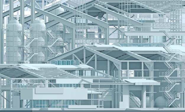 Ilustração 3d. indústria de fábrica de construção de fundo conceitual e wireframe. layout da planta. empresa de projeto. indústria de construção comercial