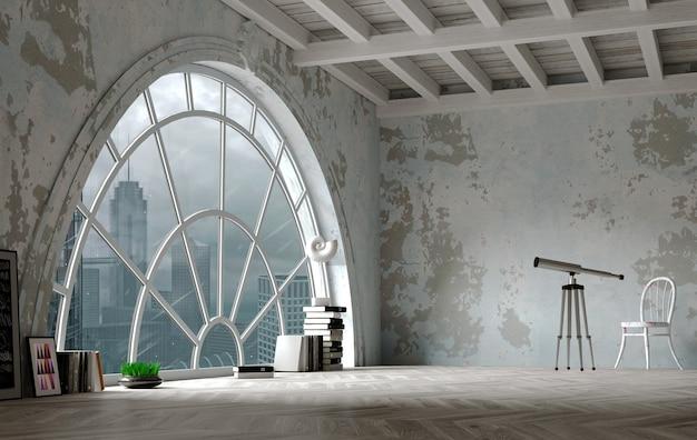 Ilustração 3d. interior do sótão em estilo loft com uma grande janela em arco. panorama da cidade.