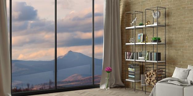 Ilustração 3d. interior moderno de um hotel loft nas montanhas. chalé de inverno com lareira na floresta.