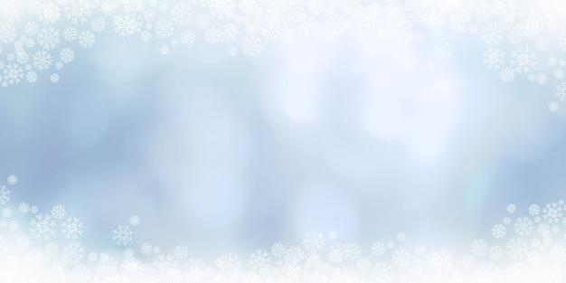 Ilustração 3d inverno e flocos de neve branca.