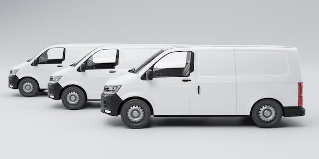Ilustração 3d isolada de entrega de três vans