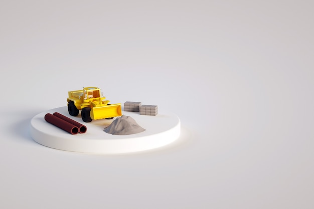 Ilustração 3d isométrica de um trator amarelo com uma pá e outros itens de construção em um fundo branco e isolado. objetos em um pequeno palco. trator, tubos, areia ou seixos, blocos de concreto.