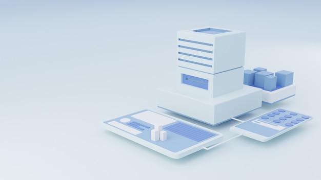 Ilustração 3d isométrica do site na cor branca brilhante
