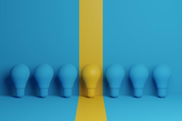 Ilustração 3d lâmpada amarela destacando-se entre lâmpada azul sobre fundo azul