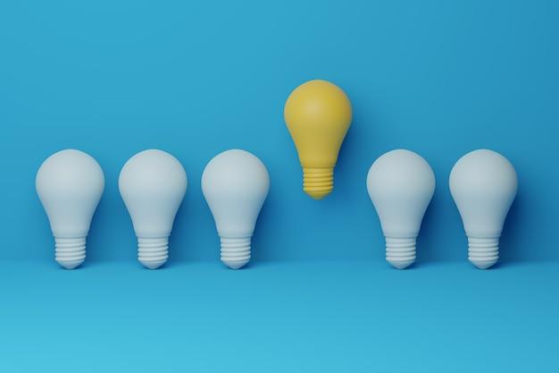Ilustração 3d, lâmpada amarela flutuante excelente entre lâmpada azul claro no fundo. conceito de ideia criativa e inovação, pense diferente, individual e que se destaque na multidão.