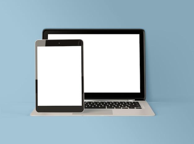 Ilustração 3d. laptop e tablet digital com tela branca.