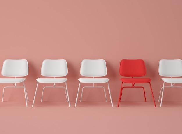 Ilustração 3d. linha de cadeiras com uma com cor diferente.