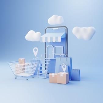 Ilustração 3d loja online app smartphone alta qualidade