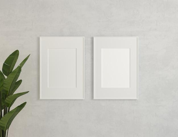 Ilustração 3d. lona, maquete de quadros na parede branca.