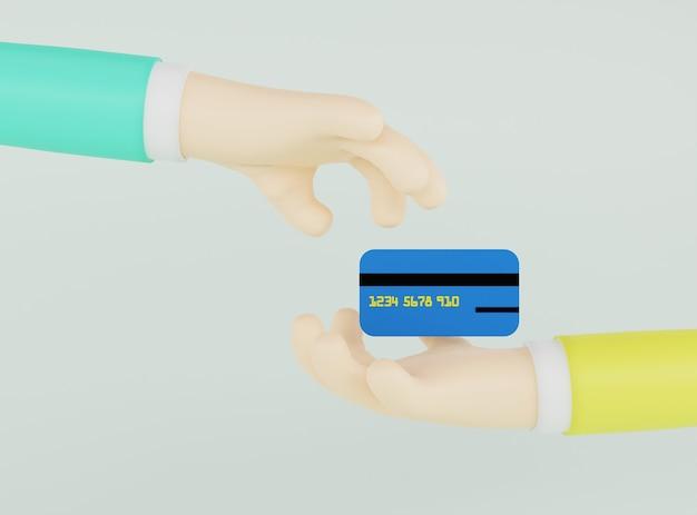 Ilustração 3d mão dando cartão de crédito a outra mão em fundo cinza claro