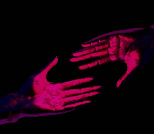 Ilustração 3d mão fundo abstrato brilhante colorido