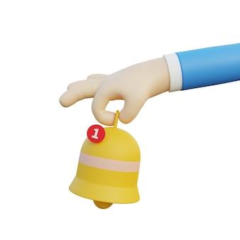 Ilustração 3d mão segurando notificação de sino