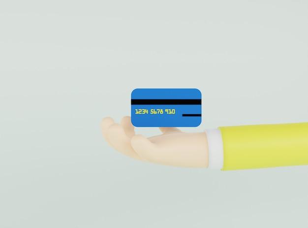 Ilustração 3d mão segurando um cartão de crédito azul escuro sobre fundo verde claro