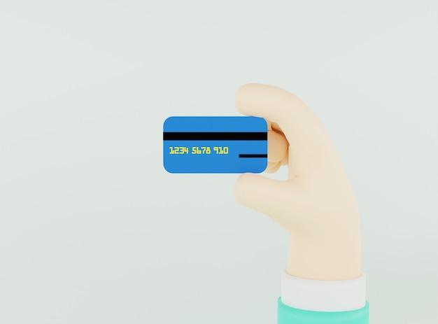 Ilustração 3d mão segurando um cartão de crédito em fundo verde claro