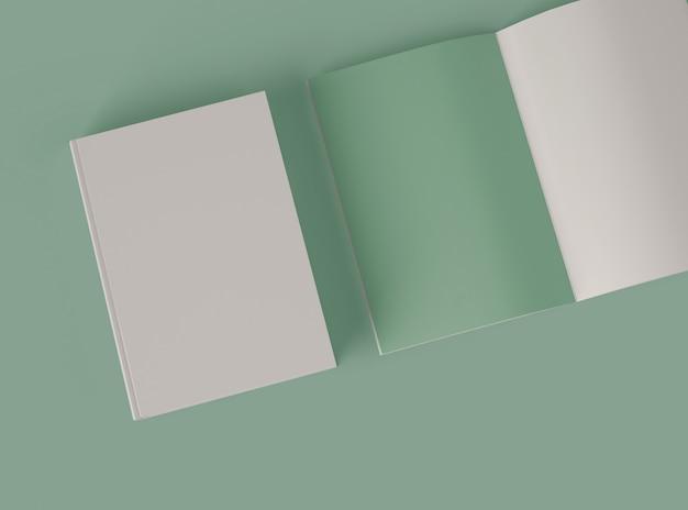 Ilustração 3d. maquete de conjunto de livros.