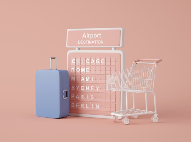 Ilustração 3d. maquete de ícones de viagens.