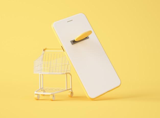 Ilustração 3d. maquete de smartphone e carrinho de compras.