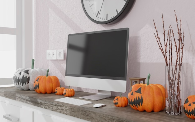 Ilustração 3d. maquete do computador de mesa em uma decoração de halloween da sala de estar. abóboras brancas e laranjas. renderização 3d