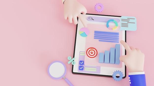 Ilustração 3d, marketing online, gráfico de relatório financeiro, análise de dados, conceito mão segurando o tablet com gráfico de dados. pesquisa, planejamento e estatísticas.