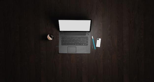 Ilustração 3d mesa com piso de madeira escura com laptop, caneta, telefone e suprimentos vista superior com área plana de colagem de cópia calma no trabalho