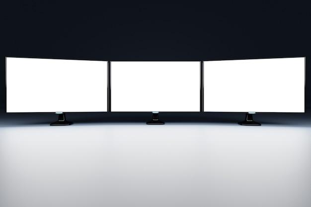 Ilustração 3d mock up de três monitores com tela branca em sala preta