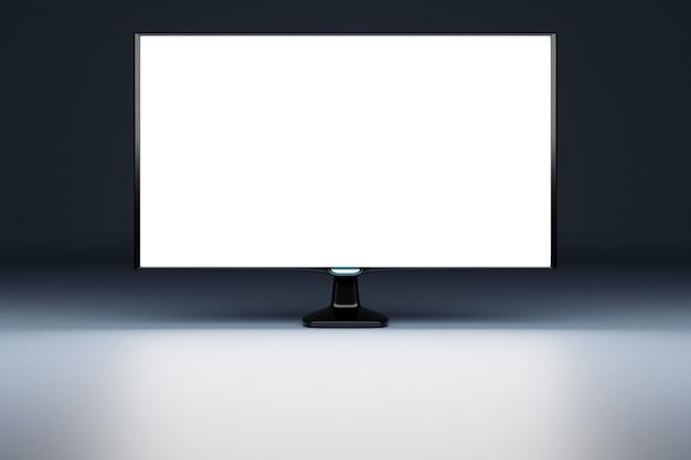 Ilustração 3d mock up de um monitor com tela branca em sala preta