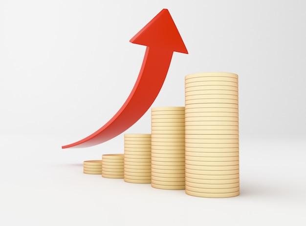 Ilustração 3d. moedas de ouro e seta do gráfico. sucesso nos negócios.