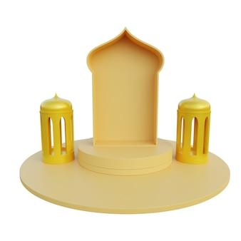 Ilustração 3d moldura dourada e fundo branco islâmico