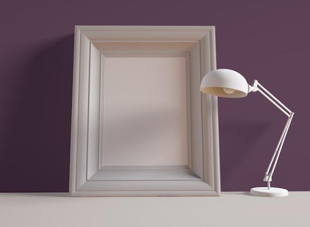 Ilustração 3d. molduras para fotos na prateleira ao lado da lâmpada de mesa.