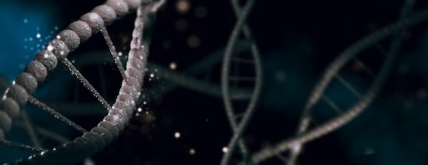 Ilustração 3d molécula de dna espiral estruturas fundo escuro