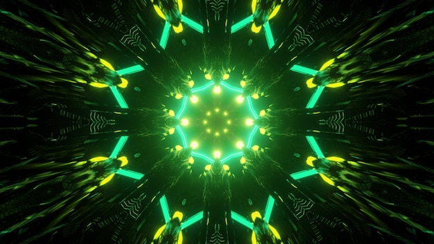 Ilustração 3d movendo-se através de um túnel escuro em forma redonda com traços de luzes de néon verdes brilhantes formando um ornamento geométrico brilhante para um fundo futurista abstrato