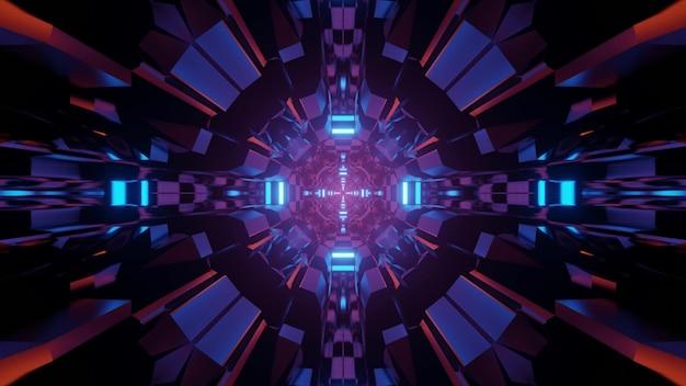 Ilustração 3d movimento de fundo geométrico abstrato dinâmico através de um túnel futurista de formato redondo com traços de luzes de néon brilhantes