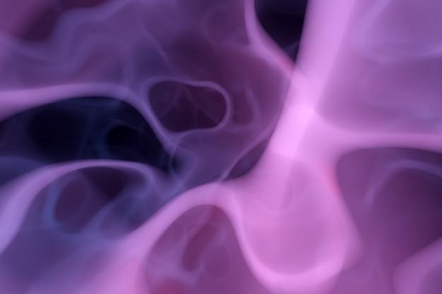 Ilustração 3d nuvem abstrata roxa de padrão de fumaça em um fundo preto isolado