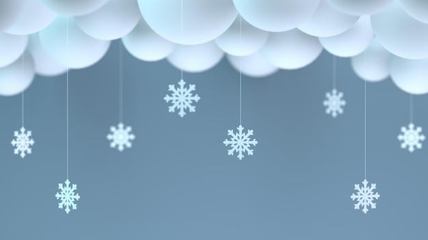 Ilustração 3d. nuvens decorativas e flocos de neve de papel na sala.