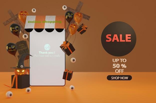 Ilustração 3d. o banner de promoção de venda de halloween com uma oferta de desconto dá voucher, banner, pôster ou plano de fundo, estilo de arte e artesanato em papel, conceito de compras online.