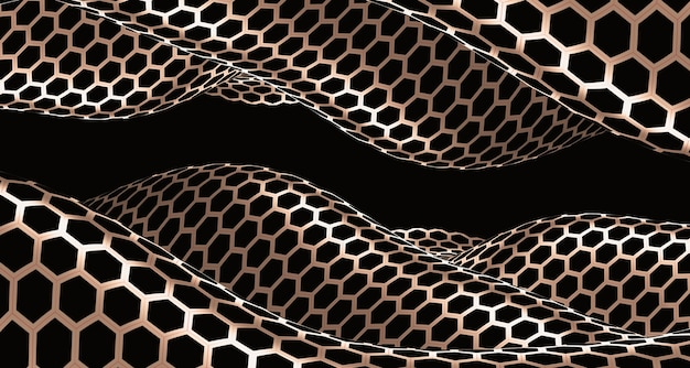 Ilustração 3d onda abstrata de curva preto e branco e vários padrões de superfície ilusão. ilustração de ilusão. fundo futurista da bandeira de faixa de curva dinâmica de linha de onda