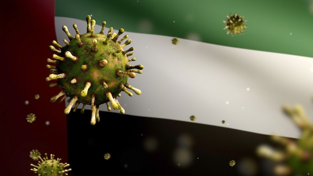 Ilustração 3d ondulação da bandeira dos emirados árabes unidos e conceito de coronavirus 2019 ncov. surto asiático nos emirados árabes unidos, o coronavírus da gripe é tão perigoso quanto uma pandemia. vírus do microscópio covid19