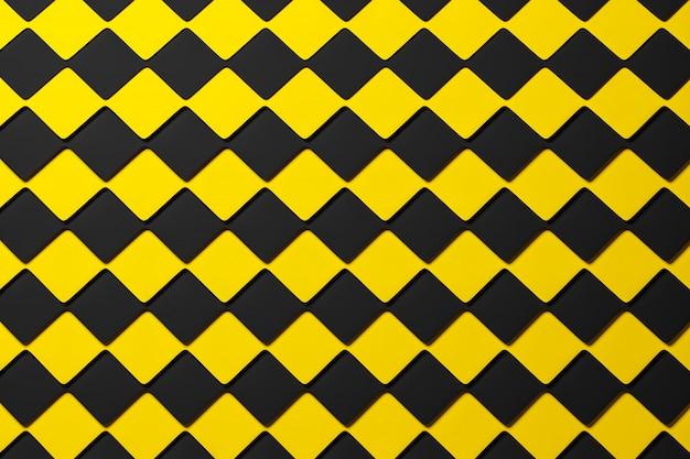 Ilustração 3d padrão geométrico quadriculado preto e amarelo das pirâmides. tabuleiro de xadrez incomum. impressão decorativa, padrão.