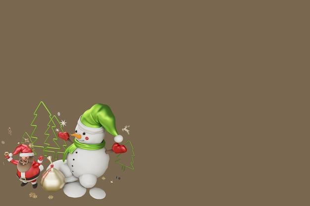 Ilustração 3d papai noel e presente de natal
