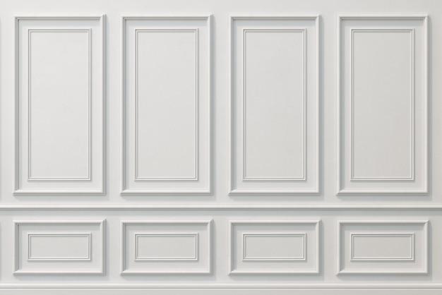 Ilustração 3d. parede clássica de painéis de madeira branca. marcenaria no interior. fundo.