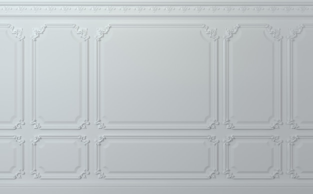 Ilustração 3d. parede clássica de painéis de madeira brancos. marcenaria no interior. fundo.