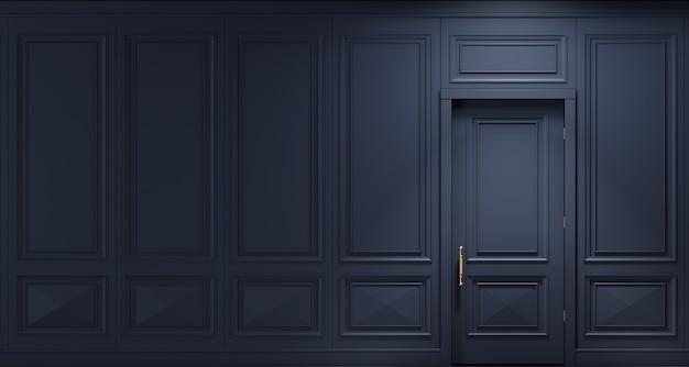Ilustração 3d. parede clássica de painéis de madeira escura com porta. marcenaria no interior. fundo.