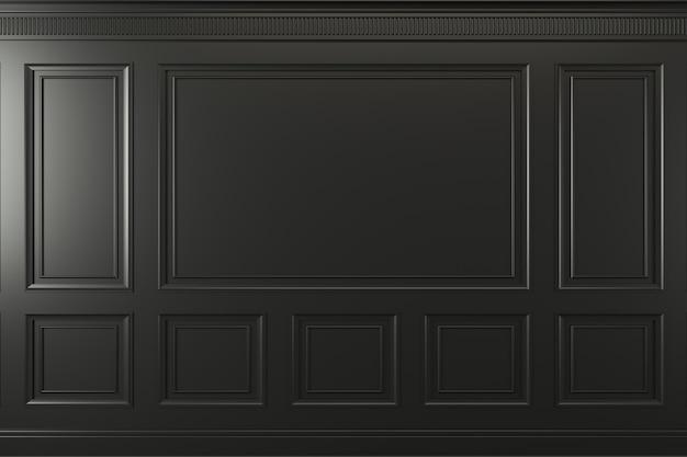 Ilustração 3d. parede clássica de painéis de madeira escura. marcenaria no interior. fundo.